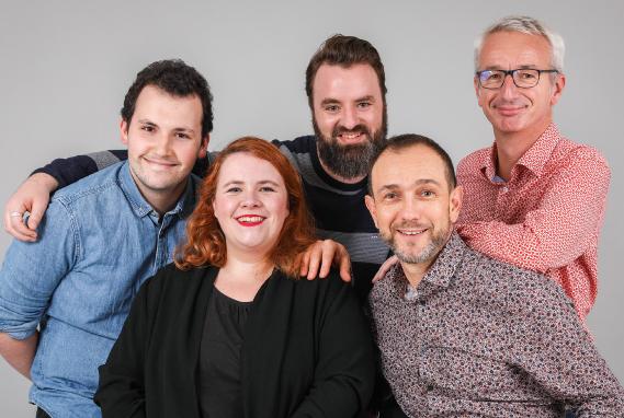 L'équipe CAD Equipement au complet : Patrice INFANTE, Alain BERTHO, Mélissa DAUBORD, Thibault ANDRIEU et Pierre PINEAU