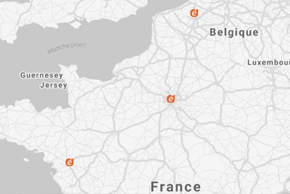 Présence multi-régionale de CAD Equipement à Paris, Nantes et Lille.