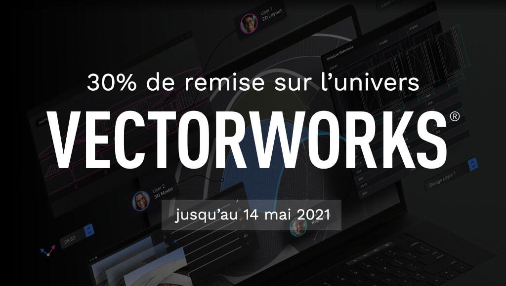 30% de remise sur l'univers Vectorworks jusqu'au 14 mai